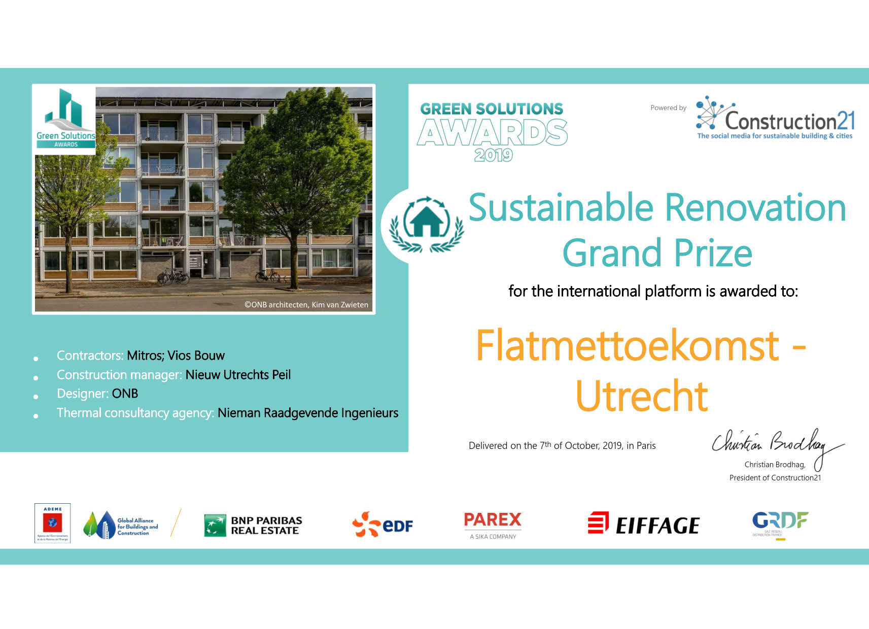 Winnaar Sustainable Renovation Grand prizes!